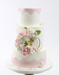 Communion Cake with Flowers