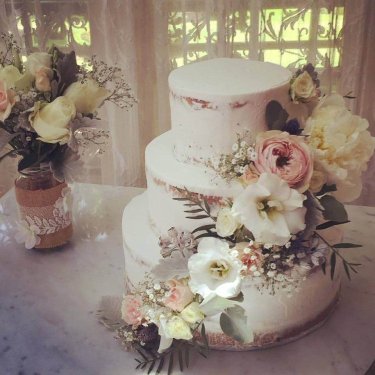 Nude Wedding Cake with Flowers