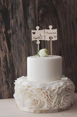 Wedding Cake with Puzzle Pieces